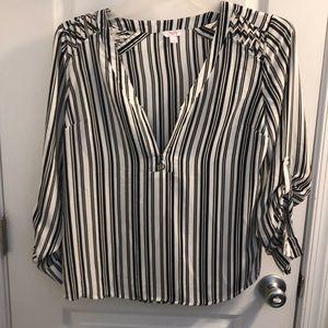 Candie's cutout shoulder Zip up blouse